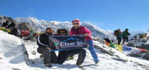 trekking in Nepal with clear sky treks team