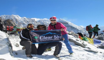 Nepal trek with clear sky treks